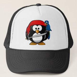 Gorra De Camionero Pingüino del pirata con un pañuelo rojo y un loro