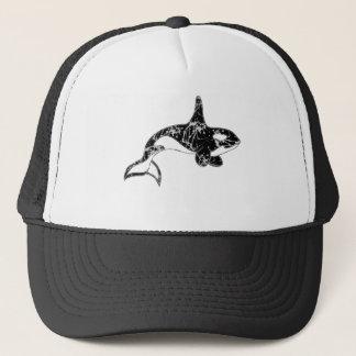 Gorra De Camionero Pinte el arte de la orca de la salpicadura