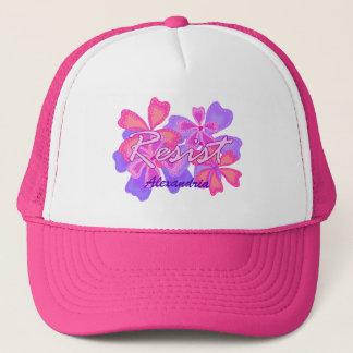 Gorra De Camionero Resista el nombre opcional floral del rosa de la