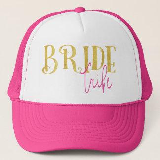 Gorra De Camionero Rosa curvado y oro de la tribu de la novia