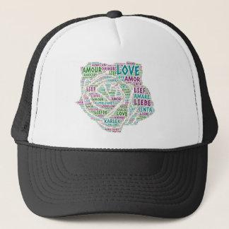 Gorra De Camionero Rosa ilustrado con palabra del amor