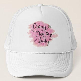 Gorra De Camionero Señora loca del perro (rosa)