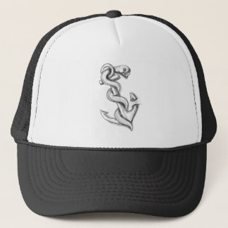Gorra De Camionero Serpiente de Asclepius que se encrespa para arriba