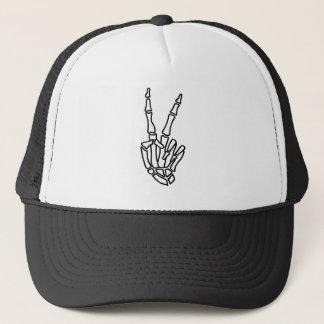 Gorra De Camionero Signo de la paz esquelético de la mano