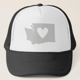 Gorra De Camionero Silueta del estado de Washington del corazón