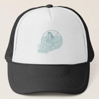 Gorra De Camionero Sirena que se sienta en el dibujo del barco