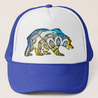 Gorra De Camionero Snapback del oso del azul y del oro por Megaflora
