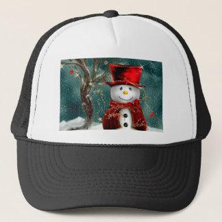 Gorra De Camionero Snowmans lindos - ilustracion del muñeco de nieve