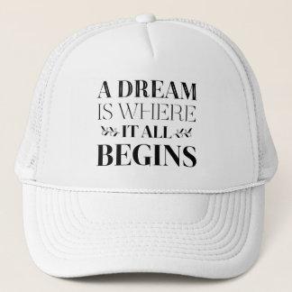 Gorra De Camionero Sueños, cita de motivación de la actitud del éxito