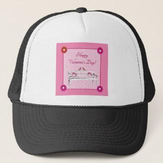 Gorra De Camionero Tarjeta del día de San Valentín, rosa y White