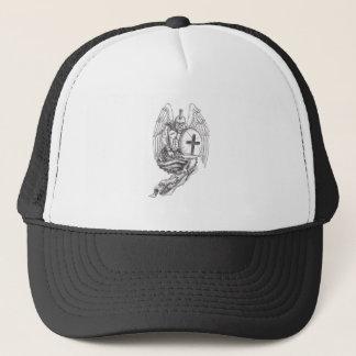 Gorra De Camionero Tatuaje espartano del rosario del escudo del ángel