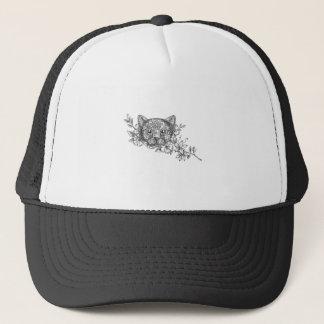 Gorra De Camionero Tatuaje principal de la flor del jazmín del gato