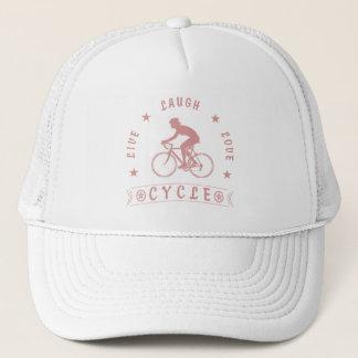 Gorra De Camionero Texto de Live Laugh Love Cycle de señora (rosa)
