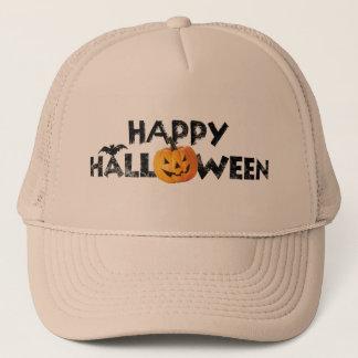 Gorra De Camionero Texto fantasmagórico del feliz Halloween con el