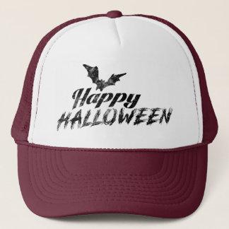 Gorra De Camionero Texto fantasmagórico del feliz Halloween con los