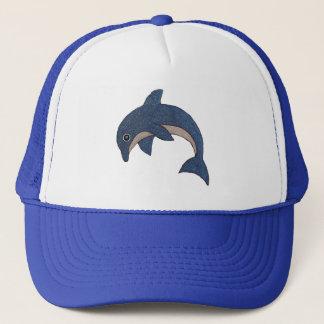 Gorra De Camionero Tipo lindo delfín de salto blanco azul del dibujo