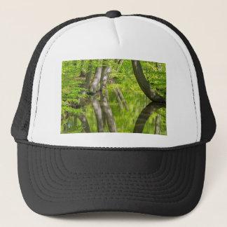 Gorra De Camionero Troncos de árbol de haya con agua en bosque de la