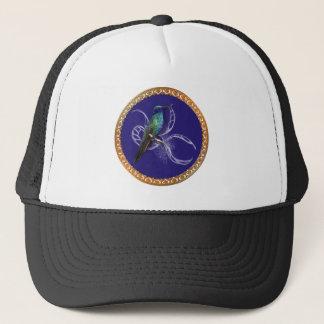 Gorra De Camionero Turquesa verde y azul con el colibrí púrpura