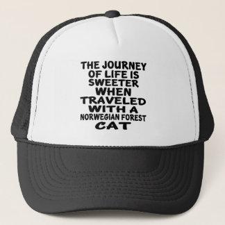 Gorra De Camionero Viajado con el gato noruego del gato del bosque
