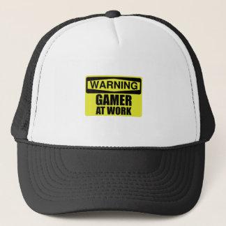 Gorra De Camionero Videojugador de la señal de peligro en el trabajo