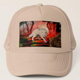 Gorra De Camionero White Wolf - lobo ártico - lobo americano