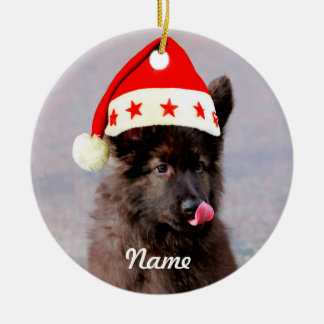 Gorra de encargo del navidad del perro de pastor adorno de cerámica