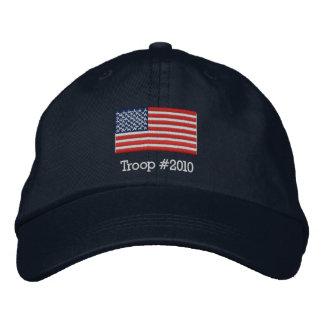 Gorra de la bandera americana con la tropa