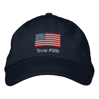 Gorra de la bandera americana con la tropa gorro bordado