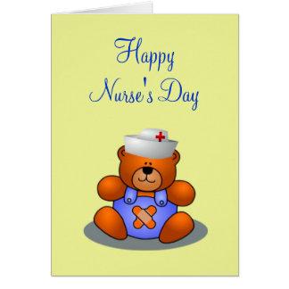 Gorra de la enfermera del oso de peluche del día d tarjeton