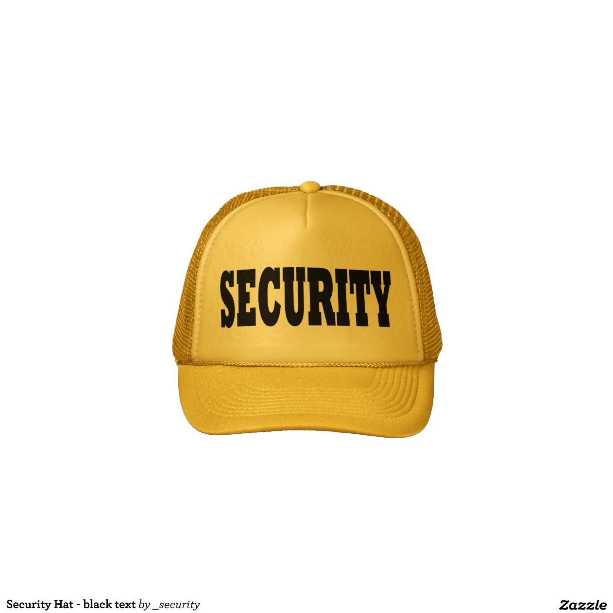 Gorra de la seguridad texto negro zazzle - Gorra de seguridad ...