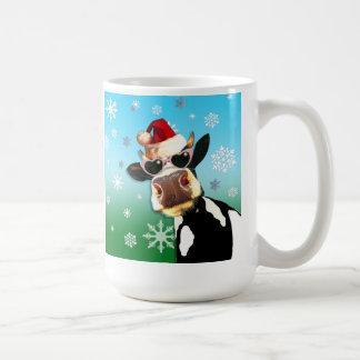 Gorra de Santa de la vaca del navidad de Taza Clásica