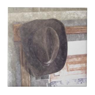 Gorra de vaquero en acuarela azulejo cuadrado pequeño