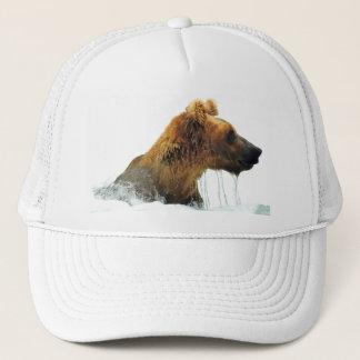 gorra del camionero con la cabeza del oso grizzly
