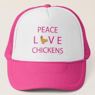 Gorra del camionero de los pollos del amor de la