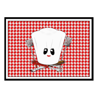 Gorra del cocinero de la mesa de picnic w/Female y Tarjetas De Visita Grandes