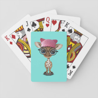 Gorra del gatito de la jirafa linda del bebé que baraja de cartas