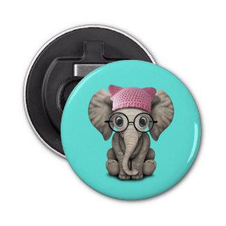 Gorra del gatito del elefante lindo del bebé que abrebotellas
