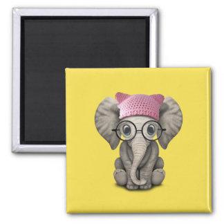 Gorra del gatito del elefante lindo del bebé que imán