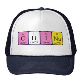 Gorra del nombre de la tabla periódica de China