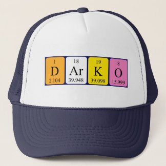 Gorra del nombre de la tabla periódica de Darko