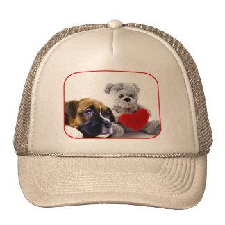 Gorra del perrito del boxeador de la tarjeta del d