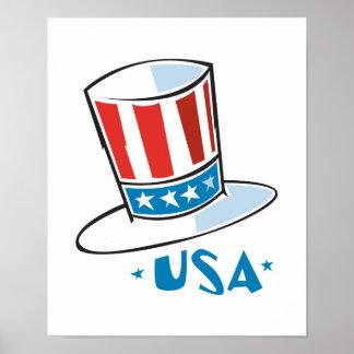Gorra del tío Sam de los E.E.U.U. Póster