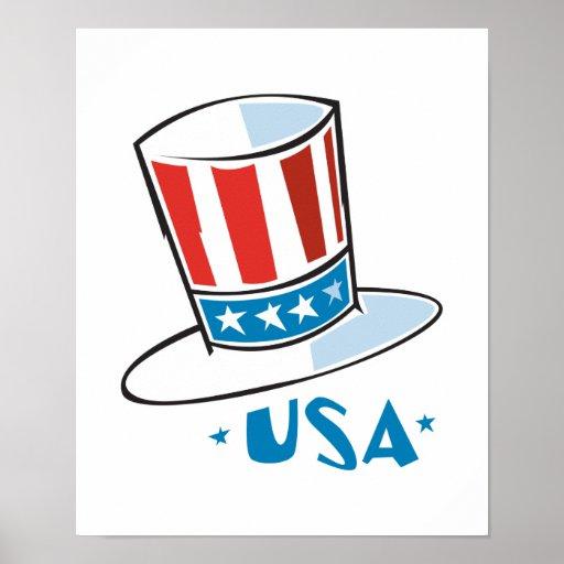 Gorra del tío Sam de los E.E.U.U. Poster
