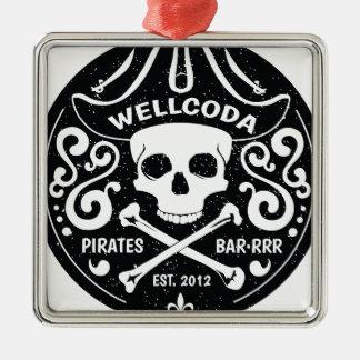 Gorra del traje de la barra del pirata de la ropa adorno navideño cuadrado de metal