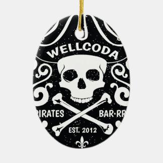 Gorra del traje de la barra del pirata de la ropa adorno navideño ovalado de cerámica