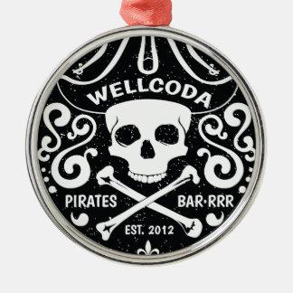 Gorra del traje de la barra del pirata de la ropa adorno navideño redondo de metal