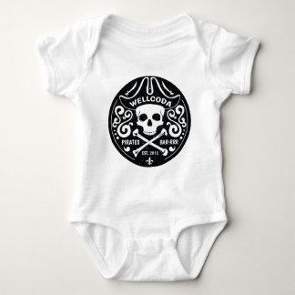 Gorra del traje de la barra del pirata de la ropa body para bebé