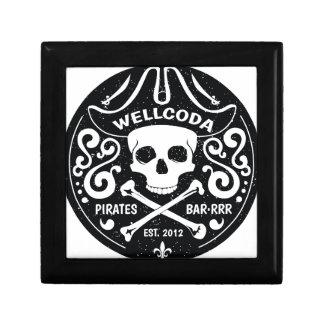 Gorra del traje de la barra del pirata de la ropa joyero cuadrado pequeño