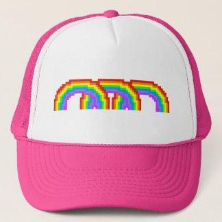 Gorra feliz del pixel del arco iris retro rosado
