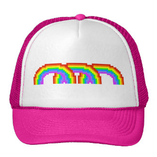 Gorra feliz del pixel del arco iris retro rosado e